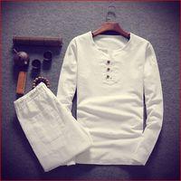 Big size men t shirt set M 8XL 9XL t shirt Linen long sleeve large t shirts casual v neck loose two piece suit t shirts sets