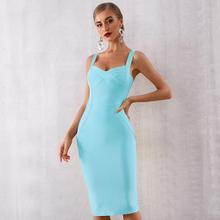 2019 Newest Summer Celebrity Party Bodycon Bandage Dress Women Spaghetti Strap V-Neck Sexy Night Out Club Vestidos