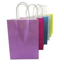 10 יח\חבילה פסטיבל מתנה קראפט נייר תיק קניות שקיות DIY משולב צבעים בוהקים שקית נייר עם ידיות 21x15x8cm