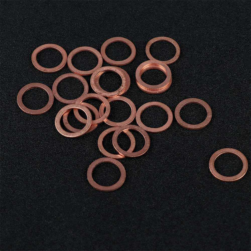 20Pcs Durable Copper Washers Flat Ring Gasket Sump Plug Oil Seal Fittings 10*14*1MM Universal Fastener Hardware Accessories