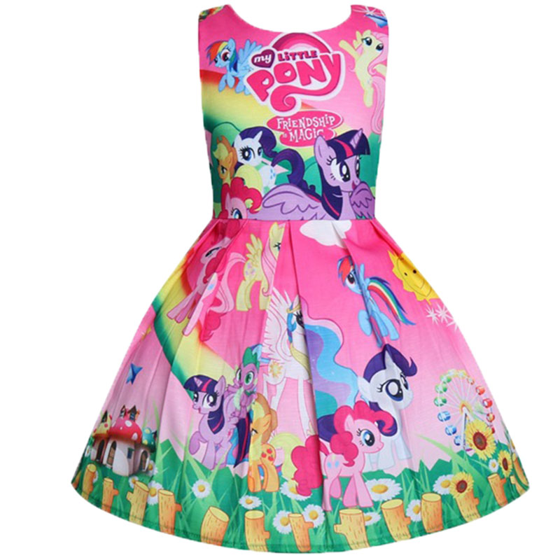 2018 New My Baby Summer Princess Little Pony Rainbow Dresses For Girls Halloween Birthday Party Vestidos Dress Children Clothing