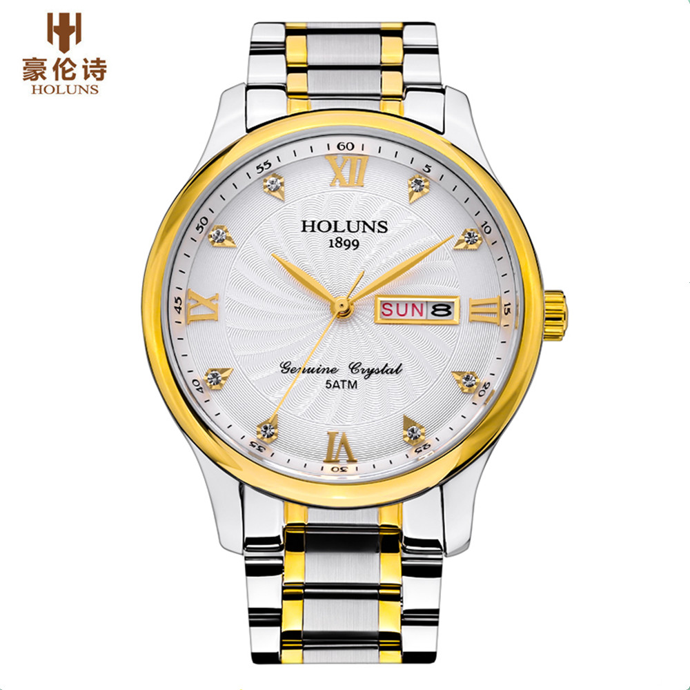 Holuns Watches Men Famous Brand Luxury Mens Wrist Quartz Watch Waterproof Full Steel Business Male Wrist Watch ailang watches men famous brand luxury automatic mechanical mens watch waterproof full steel date business male wrist watch new