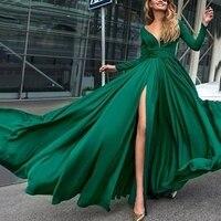 LISYRHJH 2018 Women autumn ladies new fashion long sleeve deep V slit big swing dress