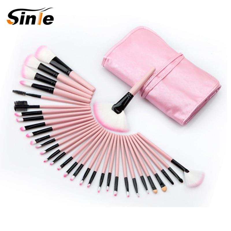 Sinle Professional 32Pcs Makeup Brush Set Foundation Cosmetic Powder Multifunction Toiletry Brushes Make Up Brushing Kits Bag