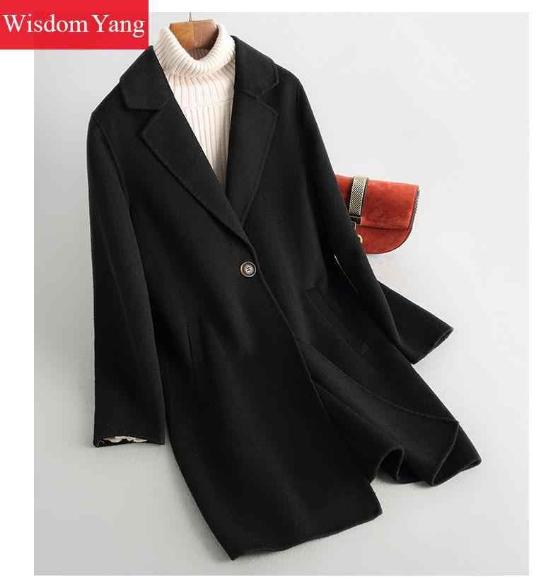 Зимнее пальто бежевого, черного, верблюжьего, овечьей шерсти кашемировые пальто женские офисные женские длинные костюмы теплые 2019 шерстяные пальто верхняя одежда