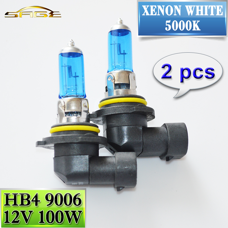 flytop 9006 HB4 12V 100W  Halogen Lamp 2 PCS(1 Pair)  Car Headlight Bulb Super White 5000K Quartz Glass Xenon Dark Blue кварцевая пластина hb 76 25 1 $ 2 5 pc quartz silide