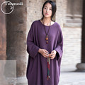New Long Nightdress Women Autumn Long-sleeved Cotton Flaxen Gown Solid Nightgown Night-robe Women Lounge Sleepshirts