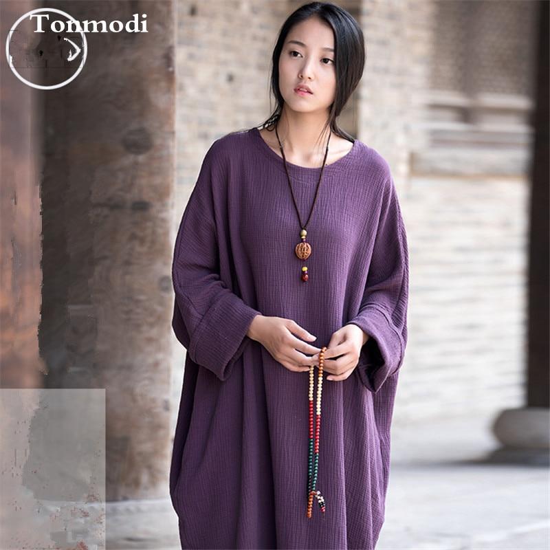 New Long Nightdress Women Autumn Long-sleeved Cotton Linen Gown Solid   Nightgown   Night-robe Women Lounge   Sleepshirts
