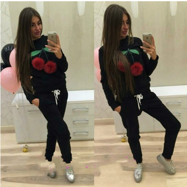 Womens Fashion Cherry Autumn Winter Sportwear Suit Red Gray Black Color Hoodies Tracksuit for Women Large Size