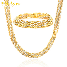 Ethlyn Fashion Gold Color Women Jewelry sets necklace/Bracelet Plating Mix Gold colors unique jewelry  S006