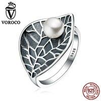 VOROCO Vintage 100 Genuine 925 Sterling Silver Leaves Leaf Pearl Finger Rings For Women Vintage Fine