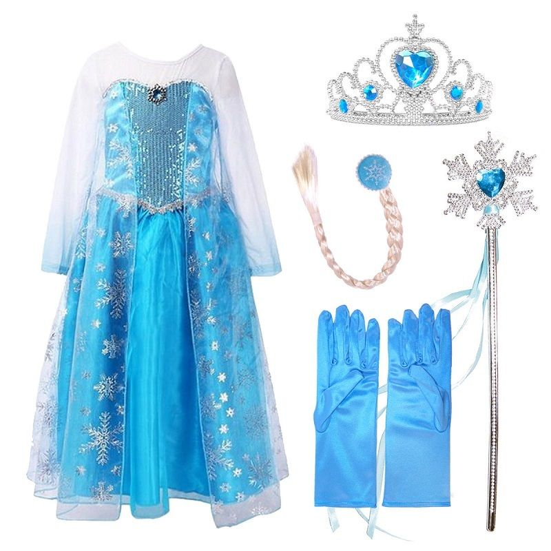 Girls Elsa Dresses Blue Sequinned Lace Long Sleeve Cosplay Costume with/without Hair Tiara Accessory Set Baby Girls Clothes