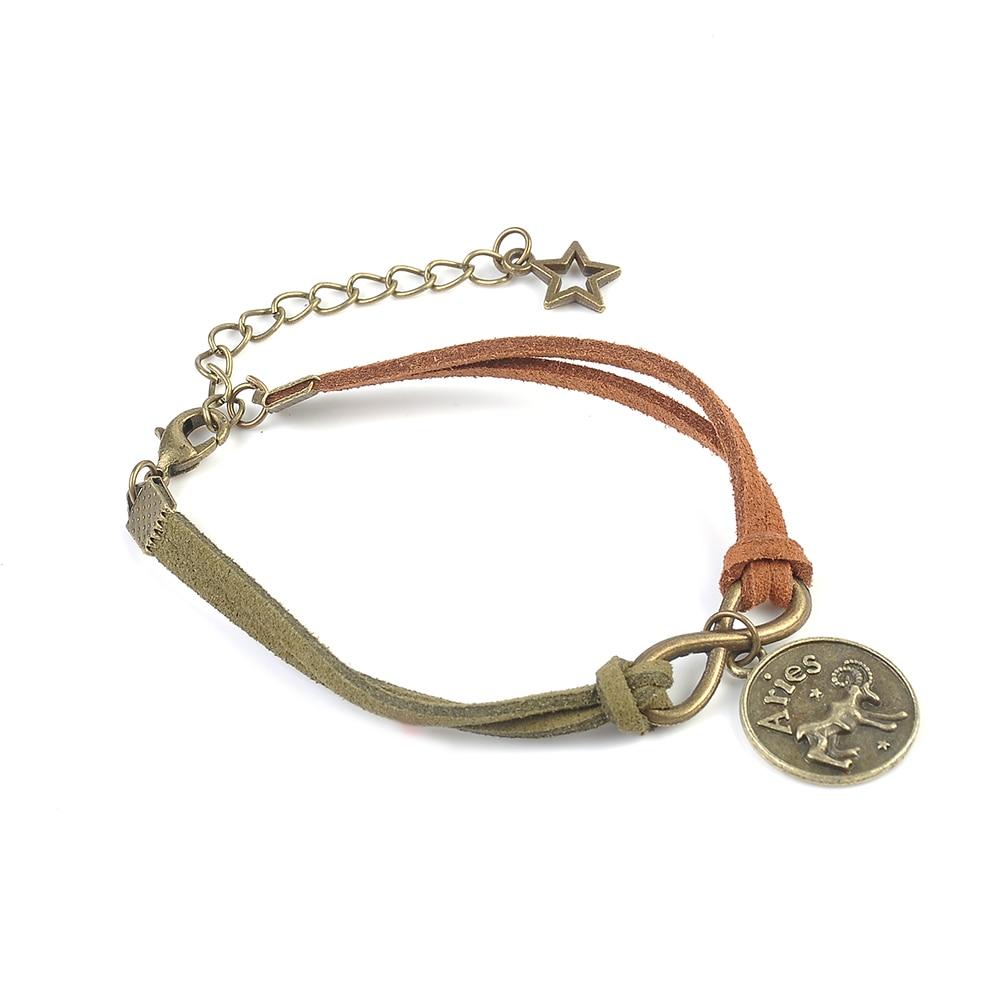 New Fashion Jewelry Wax rope alloy Bracelet 12 Constellations Bracelet Unisex Casual Personality Zodiac Signs Punk Bracelet