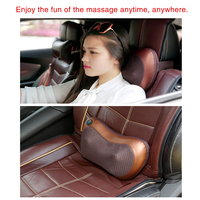 Relaxing Massager Home Car Two Use Vibrating Infrared Heating Massage Brown Color Waist Neck Legs Buttocks