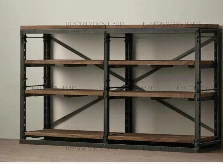Affordable american iron loft retro wood clapboard wood for Scaffali in ferro battuto ikea