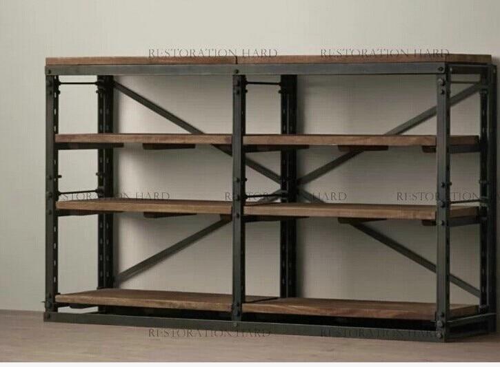 Americano soppalco in ferro retro assicella di legno for Scaffali libreria in legno