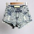 Calções mulheres novo buraco de moda Fazer o velho Borlas Na Moda Hot curto feminino shorts jeans calça jeans de cintura alta curta calças de brim