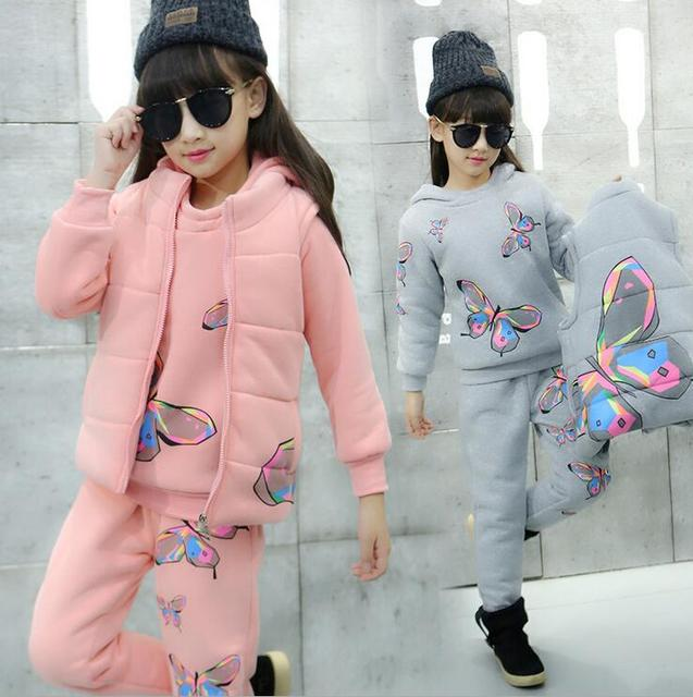 Winter Clothing For Girls Print Butterfly Kinderkleding Meisjes Long Sleeve Kids' Things Baby Christmas Outfits Kids Tracksuit