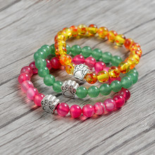 Multi color Stone Beads with Silver Alloy Dog Paw Braclet For Women Men Gift Natural Stone Beaded Bracelets Charm Bangle Jewelry(China)