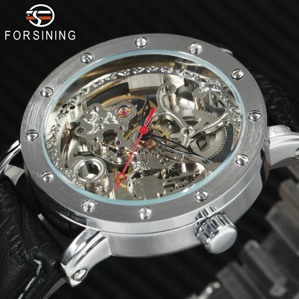 2018 FORSINING Mens Watches Top Brand Luxury Auto Mechanical Watch Black Leather Strap Skeleton Dial Fashion Casual Wristwatches mens mechanical watches top brand luxury watch fashion design black golden watches leather strap skeleton watch with gift box