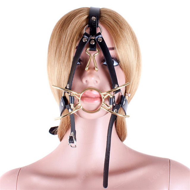 Metal Spider Ring Gag with Head Slave Harness Nose Hook Mouth Gags Sex Toys For Couple Adult Games Female Flirting Sex Products
