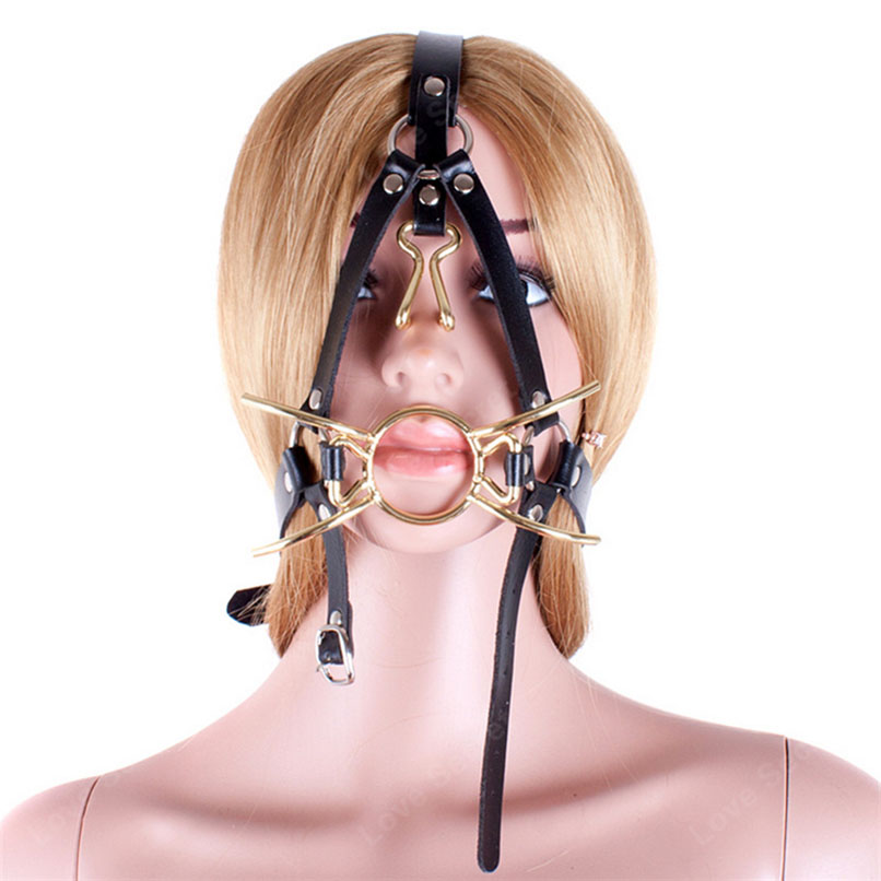 Ring gag nose hook bondage