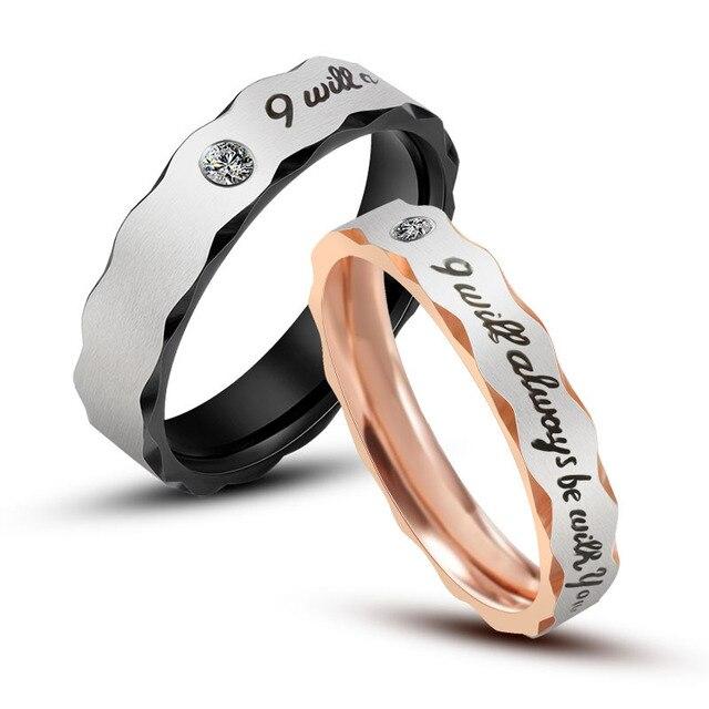 Men Women Rose Gold Black Stainless Steel Wedding Couples Engagement
