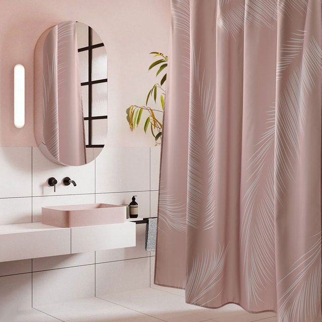 LIANG QI Imitation Linen Shower Curtain Nordic Bathroom Partition Waterproof Thicken High Quality Bathing Tools Home