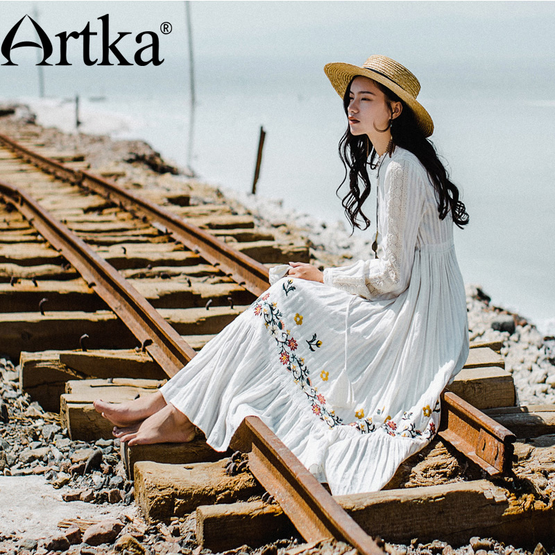 ARTKA Autumn Winter New Vintage Dress Chinese Style Embroidery Chest Stripe Long Shirt Dress Full Sleeve