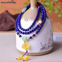 Wholesale Natural Stone Bracelets Lapis Lazuli Round Buddha Beads with Lantern Pendnat Crystal Bracelet For Women Men Jewelry