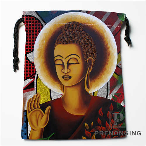 Custom Indian Buddha Drawstring Bags Printing Fashion Travel Storage Mini Pouch Swim Hiking Toy Bag Size 18x22cm #171203-04-01