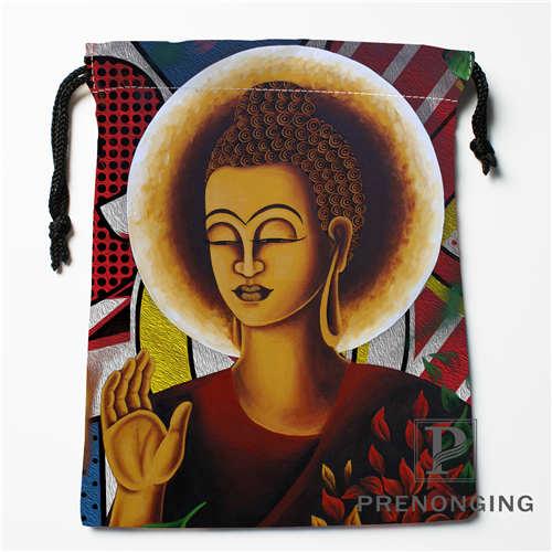 Custom Indian Buddha Drawstring Bags Printing Fashion Travel Storage Mini Pouch Swim Hiking Toy Bag Size 18x22cm #171203-04-01