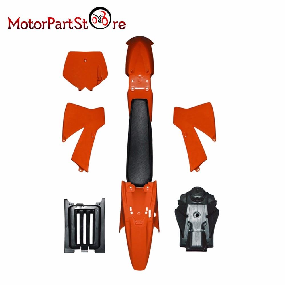 Новый оранжевый подходит КТМ 50SX 50 SX к 50КУБ пластик крышка комплект с топливным баком черный сиденье KTM50 старший младший младший старший *