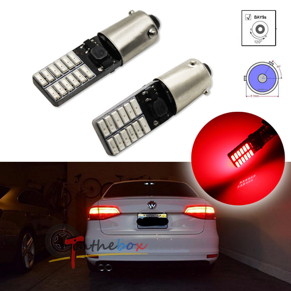 2PCS Red Canbus Error Free Bay9s H21W 64136 120 degree Socket 24-SMD LED Lights Bulbs carprie super drop ship new 2 x canbus error free white t10 5 smd 5050 w5w 194 16 interior led bulbs mar713
