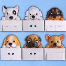 Creative Cute Cat Dog Resin animals Switch Sticker bathroom kitchen living room Socket/switch for home decoration 3D Stickers