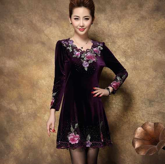 Vestidos De Festa Vintage Floral Embroidery Bodycon Party Dress For Middle  Age Women s Plus Size Robe 80aff48f87ab