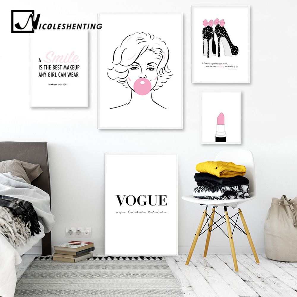 Designer Fashion Art Marilyn Monroe black bubblegum girls bedroom print