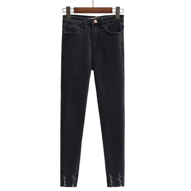 Jeans Skinny Mulheres 2017 Outono/inverno Casual Jeans Rasgado para As Mulheres 4 Cores Calças Lápis Lavado Jean Cintura Alta Calças jeans