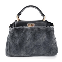 WITFLASH Gray Designer Fur Handbags High Quality Fashion Brand Women S Handbag Luxury Ladies Hand Bags