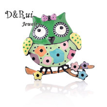 Colorful Owl Brooches For Women Girls Gift Vintage Enamel Bird Branch Pins Corsage Clips Suit Scarf Dress Decoration Jewelry