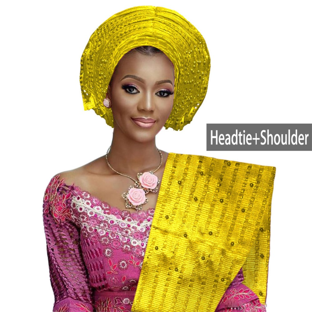 Various Colors African Auto Gele Headtie For Women Aso Oke Headwear Beaded African Gele With Shoulder Nice Quality