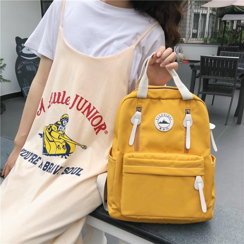 DCIMOR Waterproof Nylon Women Backpack Female Ring Buckle Travel Backpack For Teenage Girls Schoolbag Vertical Zipper Mochila