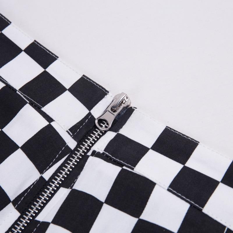 InstaHot Plaid Zipper Checkered Straight Pants Women Fashion Casual Slim Pockets Long Pants Black White Pencil Pantalon Femme 27