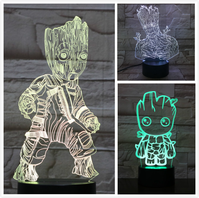 Usb 3d Led Night Light Marvel The Avengers Super Heroe Tree Man Groot Figure 3d Illusion Multicolor Rgb Table Lamp Bedroom Neon
