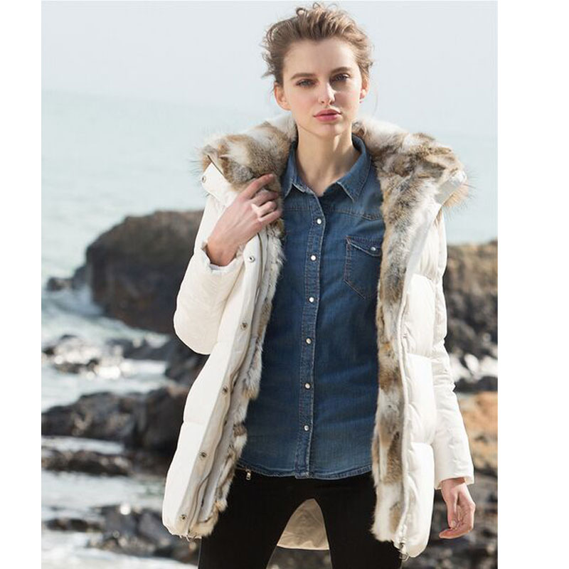 Down   Parka 2019 New Fashion Winter Jacket Women Thick Real Rabbit Hair Raccoon Fur Collar Hooded   Coat   Loose White Duck   Down     Coat