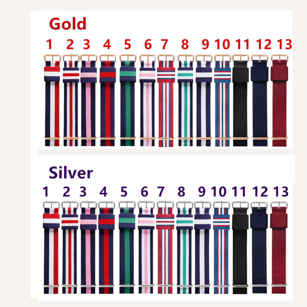 14mm 18mm 20mm Army Sports nato fabric Nylon watchband Buckle belt Strap For Daniel Wellington Watch Band For 007 James bond DW