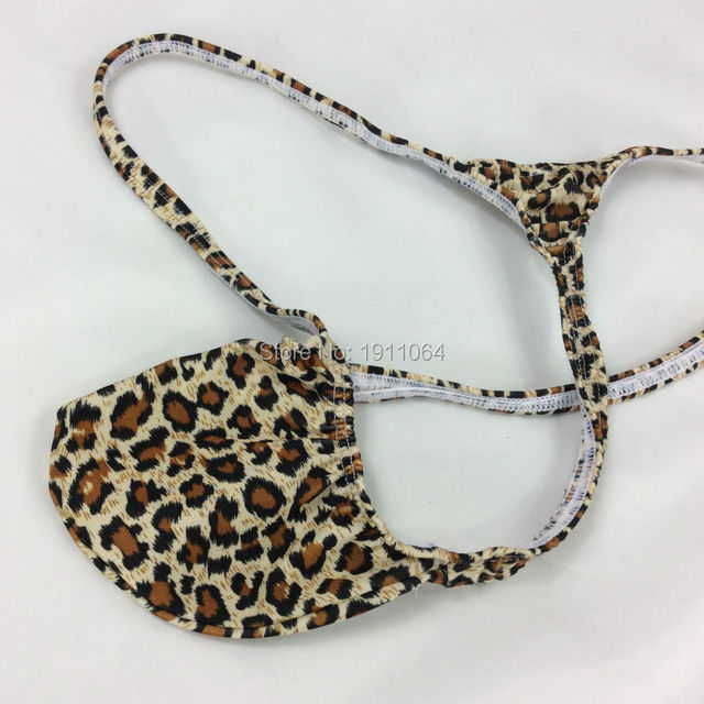 bb07e5752125 G4034 Mens sexy Thong Bulge Pouch T-back Grape Smugglers Leopard prints  stretchy swim fabric