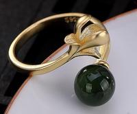 Sterling S925 925 silver rings gilding flower bead trendy ring