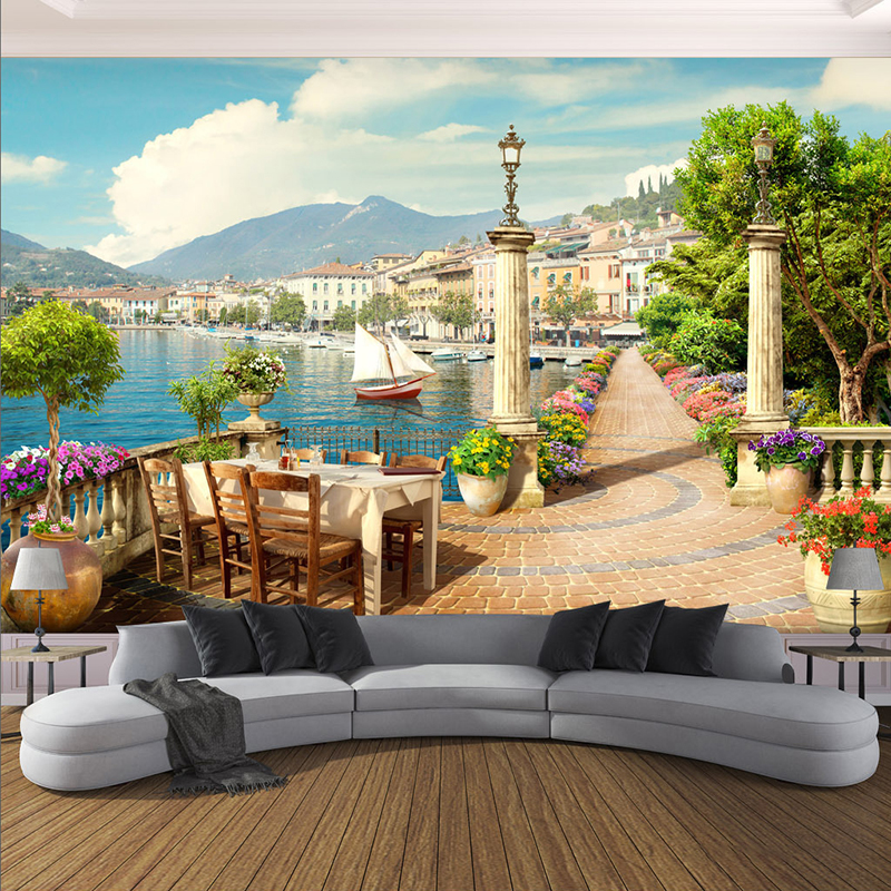 Photo Wallpaper 3D Stereo Garden Balcony Small Town Lake Scenery Murals Restaurant Cafe Background Wall Cloth 3D Papel De Parede image