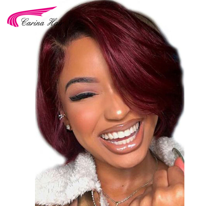 T1B Burgundy Bob Wig 1b 99J Ombre Lace Front Human Hair Wigs With Baby Hair Straight